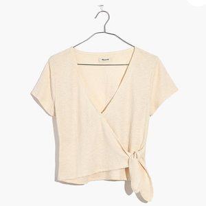 Madewell texture & thread wrap tie top xxs